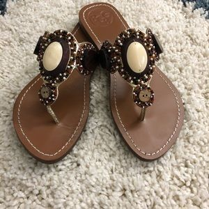 BCBG Bistro Brown Beaded Sandal Sz 7.5